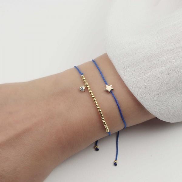 Armband Set Stern Zirkonia 925 Silber vergoldet Blau-Gold