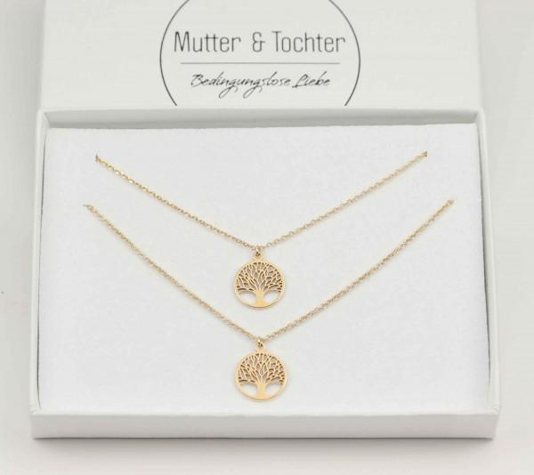 Mutter Tochter Lebensbaum Halsketten Set 925 Silber vergoldet ø 12 mm | Schmuck Baum des Lebens