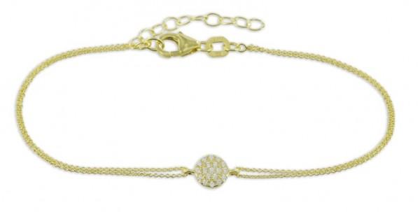 Filigranes Armband Anhänger Zirkonia Kreis 925 Silber vergoldet - 19 Zirkoniasteine