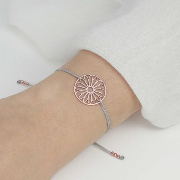 Armband Tausendschön Blume 925 Silber rosevergoldet Grau-Rosegold | Schmuck Gänseblümchen