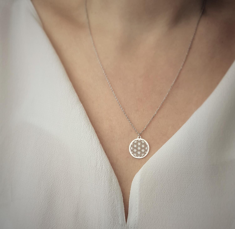Halskette mit Blume des Lebens Anhänger 925 Silber ø 15 mm | Kette Schmuck Lebensblume Silberkette