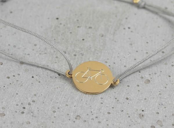 Armband Plättchen 925 Silber vergoldet-Hellgrau individueller Gravur ø 12 mm-Schmuck Wunschgravur