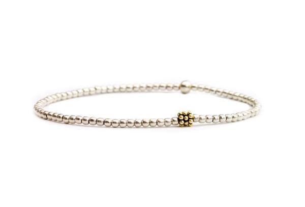 Feines Armband in Silber-Gold, 925 Silber teils vergoldet | Kugelarmband