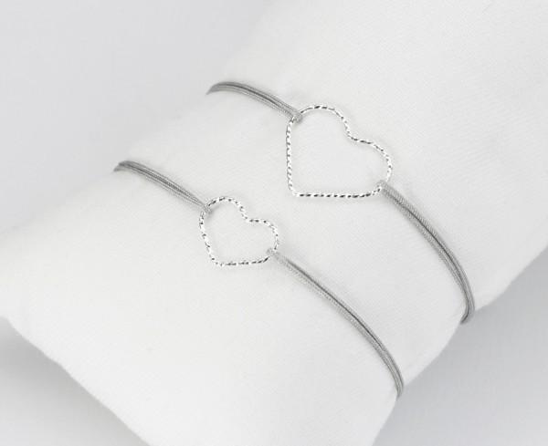 Mutter Tochter Armband Herz 925 Silber Hellgrau-Silber | Partnerlook Liebe Schmuck