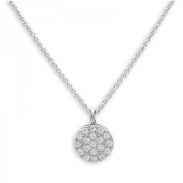 Filigrane Halskette mit Anhänger Zirkonia Kreis 925 Silber 19 Zirkoniasteine