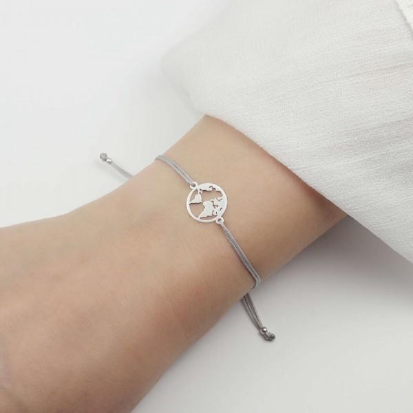 Armband Weltkarte 925 Silber | Farbe personalisierbar - Armbändchen Welt Globus Weltkugel