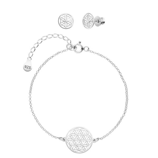 Blume des Lebens Schmuckset Armband Ohrstecker 925 Silber | Lebensblume Schmuck Set