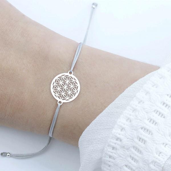 Blume des Lebens Armband 925 Silber Silber-Hellgrau | Lebensblume Schmuck