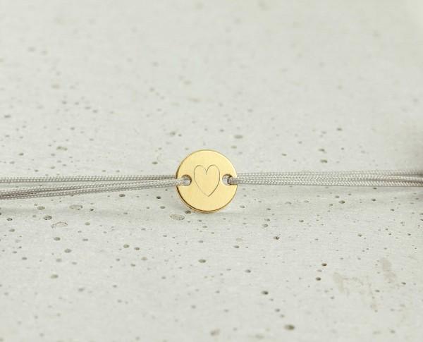 Armband Plättchen 925 Silber vergoldet-Hellgrau-individueller Gravur ø 10 mm-Schmuck Minimalistisch