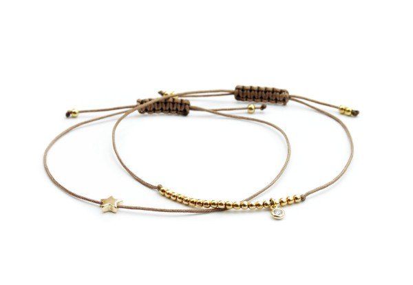Armband-Set Stern/Zirkonia Silberperlen Taupe-Gold 925 Silber vergoldet Schmuck