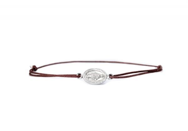Armband Madonna Wundertätige Medaille 925 Silber Braun-Silber | Textilarmband Jungfrau Maria