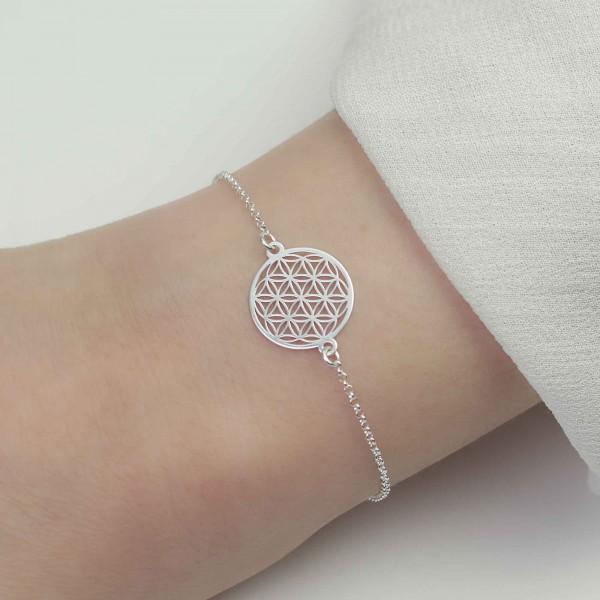 Armband Blume des Lebens 925 Silber / Armkette Lebensblume Schmuck