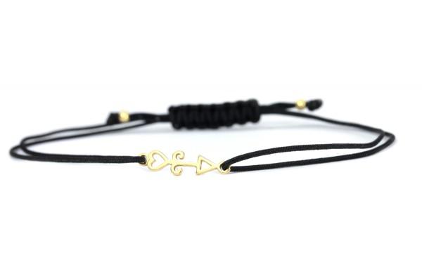 Damen Textil-Armband Pfeil 925 Silber vergoldet | Schwarz-Gold | Glücksbringer Individualisierbar