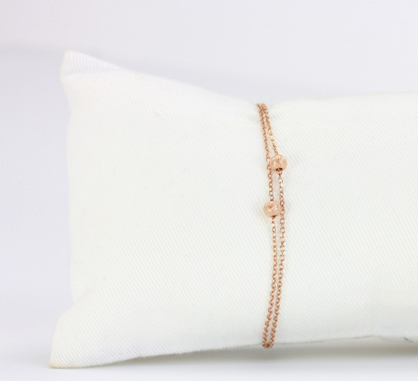 Kügelchen Armband Rosegold-Braun, 925 Silber rosevergoldet