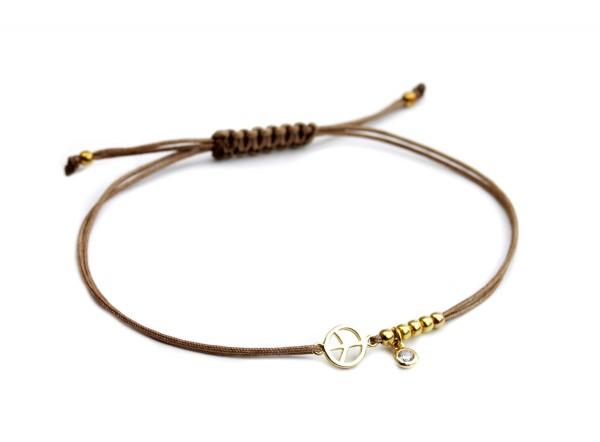 Textil Armband Peace Symbol,Taupe-Gold | Freundschaftsarmband Friedenszeichen