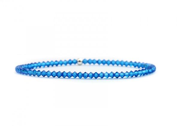 Damen Armband Elastisch dunkelblau Kristallglasperlen