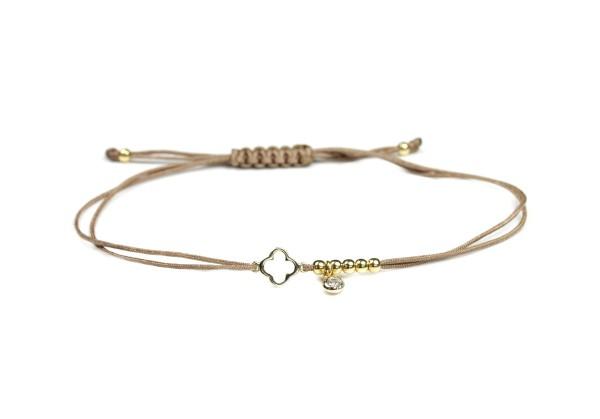 Textil-Armband Kleeblatt Zirkonia Perlen 925 Silber, Taupe-Gold | Schmuck Glücksbringer
