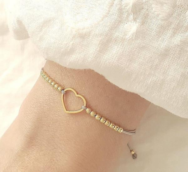 Armband Herz Silberperlen 925 Silber vergoldet hellgrau   Kugelarmband Liebe Freundin BFF