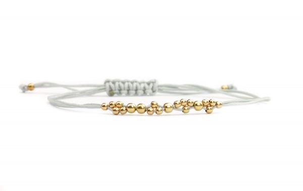 Kügelchen Armband 925 Silber vergoldet - Hellgrau