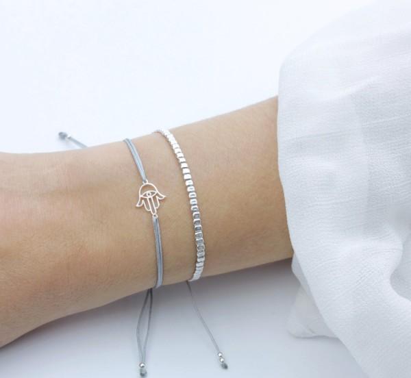 Symbol Armband Set Fatimas Hand Hamsa,Silber-Grau 925 Silber