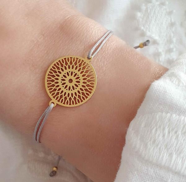 Armband Unendlichkeitsblume 925 Silber Dunkelgrau-Silber | Freundschaftsarmband Infinity-Rosette