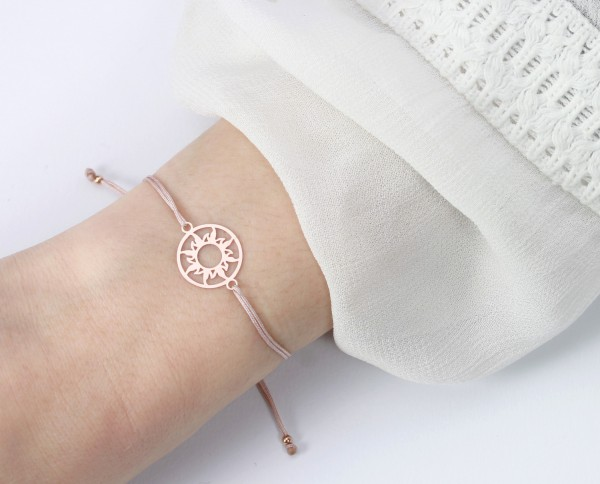 Armband Sonne Rose-Nude 925 Silber rosevergoldet Individualisierbar Freundschaftsarm