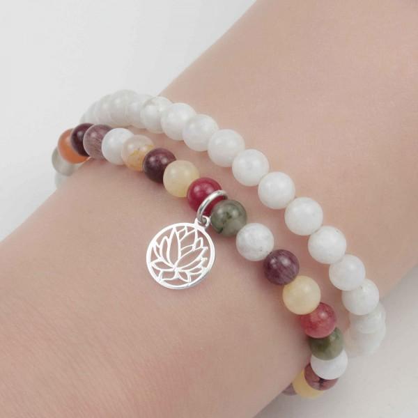 Lotusblume Armbänder Set 925 Silber - Regenbogenmondstein und Bergkristall