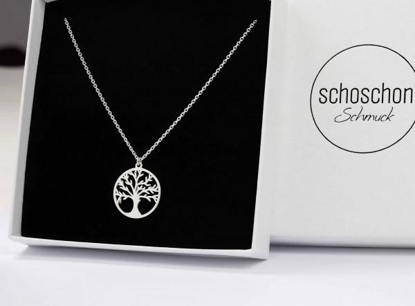 Halskette mit Lebensbaum / Baum des Lebens Anhäger 925 Silber ø 16 mm