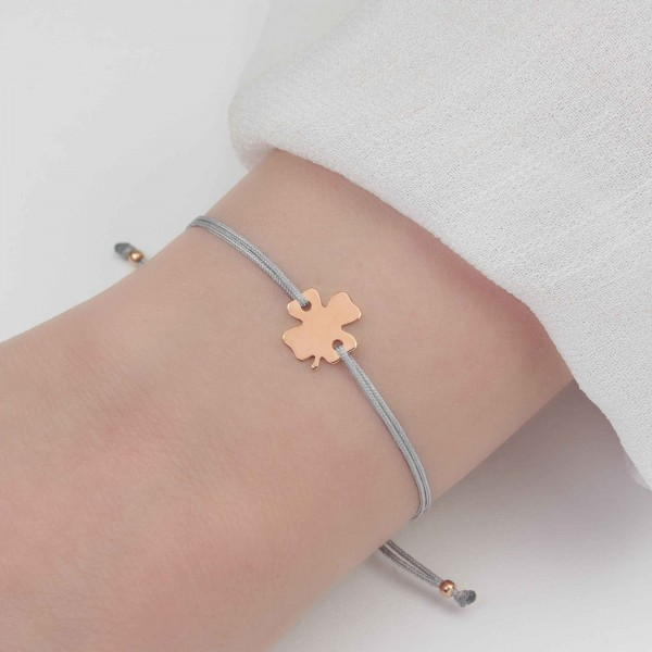 Textilarmband Kleeblatt 925 Silber rosevergoldet hellgrau / Armband Schmuck Klee Trifolium