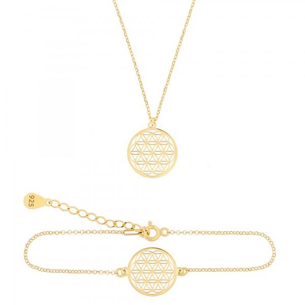 Schmuckset Blume des Lebens Halskette Armband 925 Silber vergoldet | Set Lebensblume Armkette