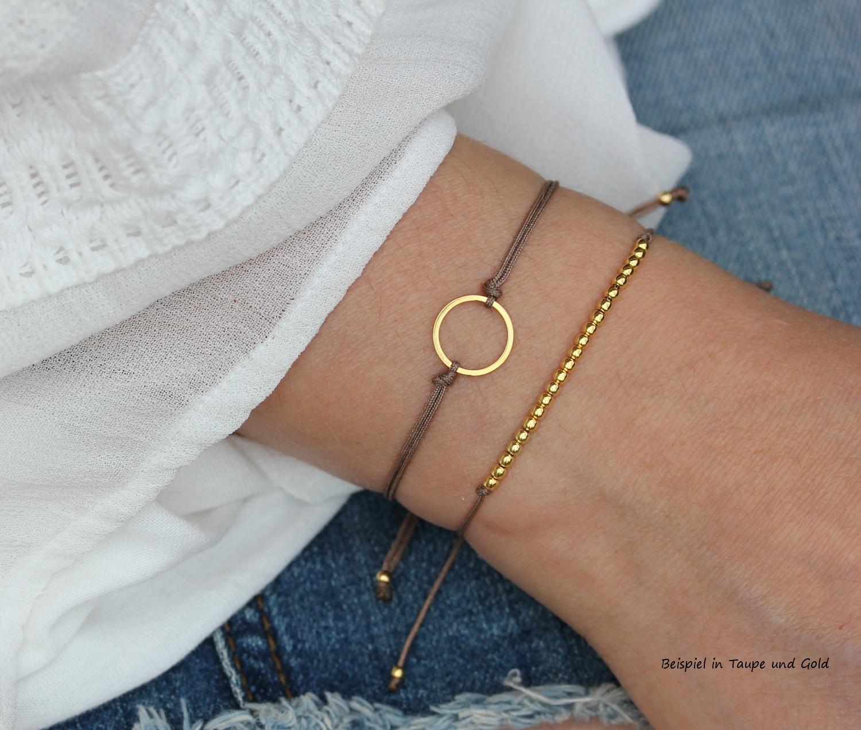 Textil Armband Set KreisKügelchen Taupe 925 Silber vergoldet  Freundschaftsarmbänder