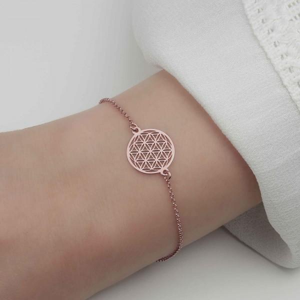 Armkette Blume des Lebens 925 Silber rosevergoldet | Lebensblume Armkettchen Armband Schmuck