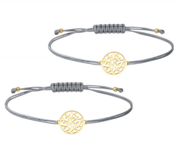 Mutter Tochter Baum des Lebens Lebensbaum Armband Set 925 Silber vergoldet Grau-Gold