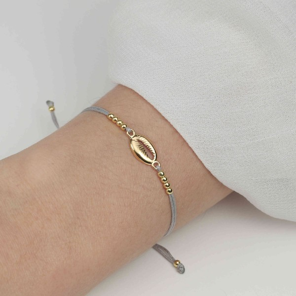 Armband Muschel Kauri 925 Silber vergoldet | Schmuck Muschelarmband Kaurimuschel Muschelschmuck-