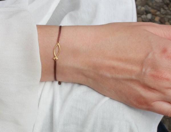 Armband ICHTHYS Fisch-Symbol 925 Silber vergoldet Braun-Gold | Schmuck Christusfisch