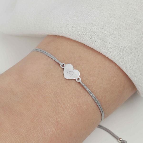 Armband Herz 925 Silber Hellgrau mit individueller Gravur | Schmuck personalisierbar 20 Farben
