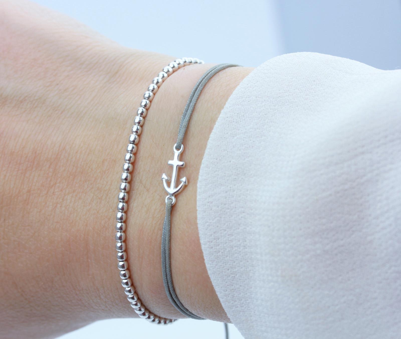 schoschon damen symbol armband set anker silber grau 925 silber. Black Bedroom Furniture Sets. Home Design Ideas