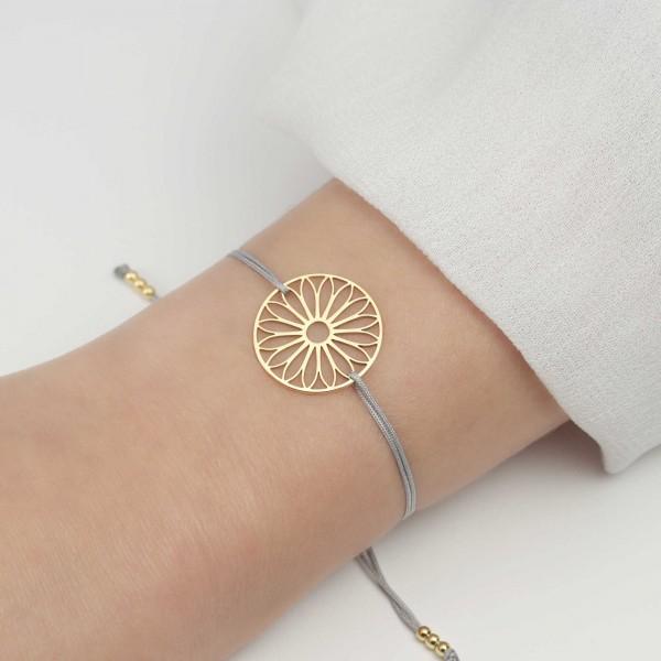 Armband Tausendschön Blume 925 Silber vergoldet Hellgrau-Gold | Schmuck Gänseblümchen