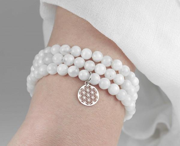 Lebensblume Armband Set Mondstein 925 Silber Weihnachten Geschenk Frauen
