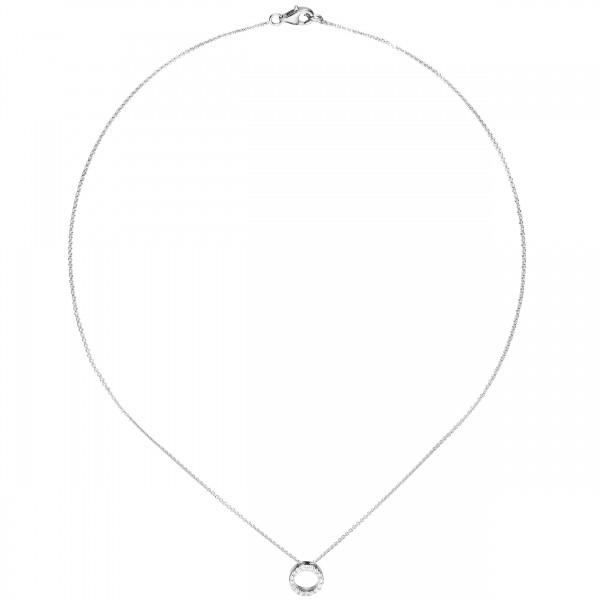 Halskette / Collier mit Anhänger Kreis 925 Silber rhodiniert 16 Zirkonia 43 cm