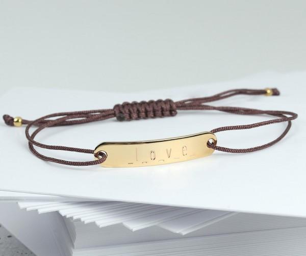 Gravurarmband mit personalisierter Gravur 925 Silber vergoldet braun | ID-Armband Namensarmband