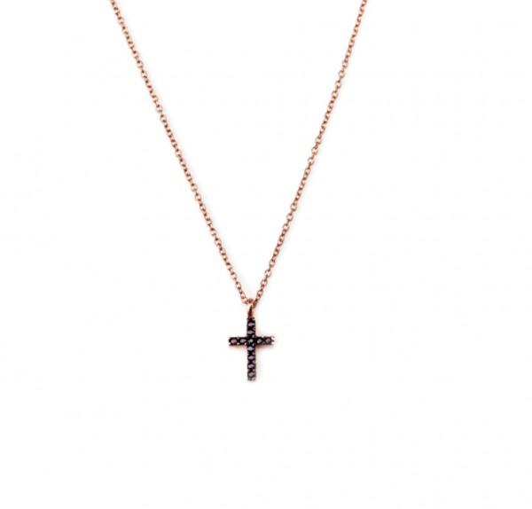 Kreuz Anhänger Kette, 925 Silber rosevergoldet