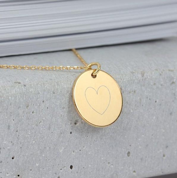 Halskette Wunschgravur Plättchen 925 Silber vergoldet ø 16 mm– persönliche Gravur