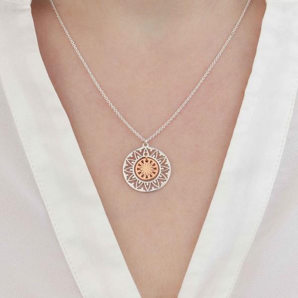 Halskette Sonne Anhänger 925 Silber - Silber rosevergoldet