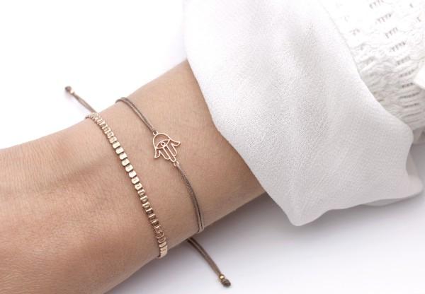 Symbol Armband Set Fatimas Hand - Hamsa, Taupe-Rosegold 925 Silber rosevergoldet | Freundschaftsarmb