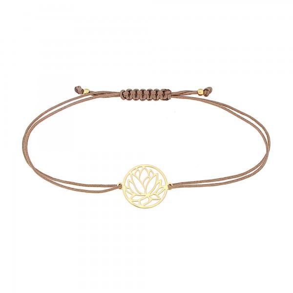 Textilarmband Lotusblume 925 Silber vergoldet Taupe-Gold| Lotosblüte Lotus Seerose