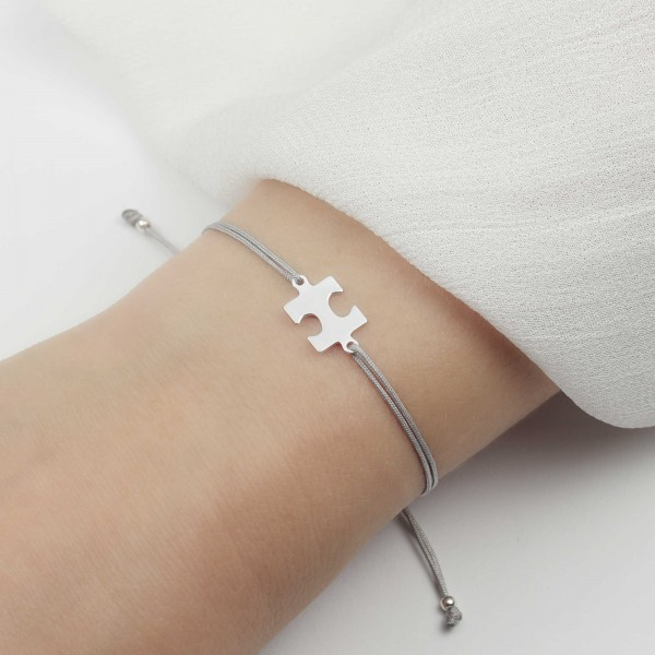 Armband Puzzlestück 925 Silber Hellgrau | Puzzle Schmuck Puzzleteil