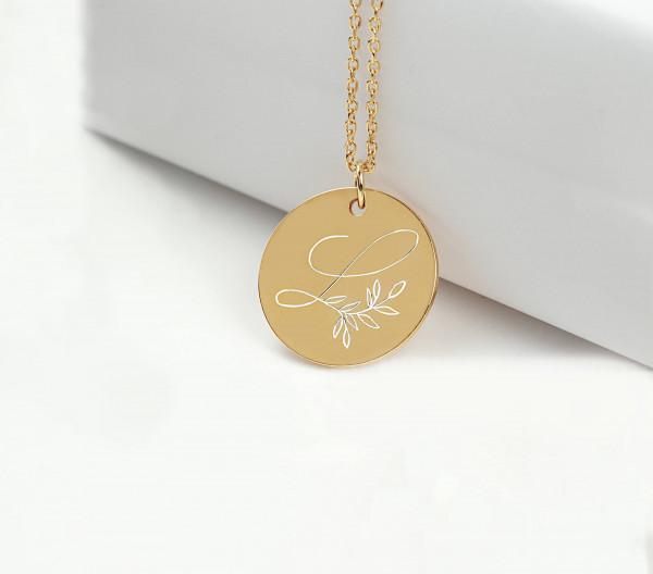 Kette Gravur Buchstabe L Blätterranke - gravierbare Halskette 925 Silber vergoldet