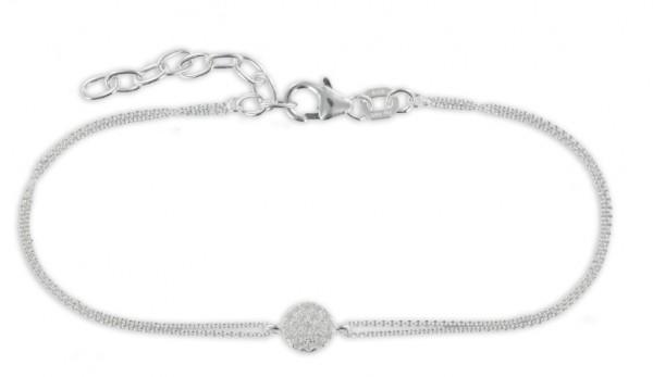 Filigranes Armband Anhänger Zirkonia Kreis 925 Silber - 19 Zirkoniasteine