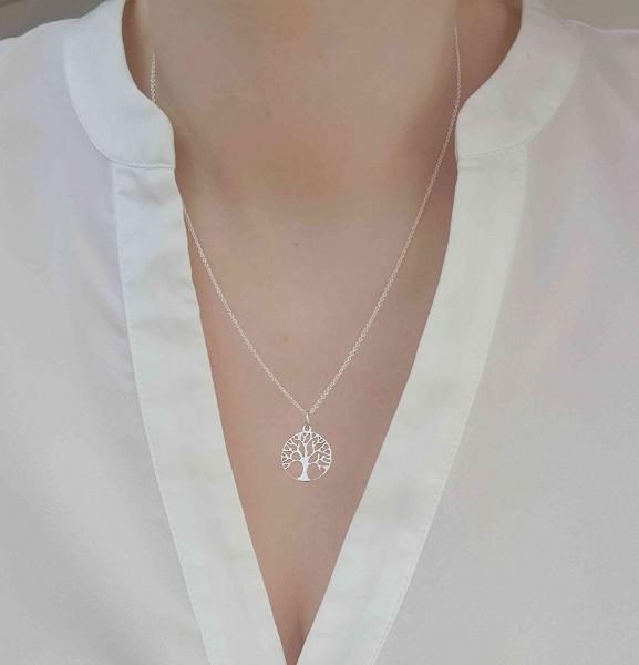 Halskette mit Lebensbaum / Baum des Lebens Anhäger 925 Silber ø 15 mm